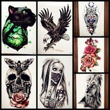Black Panther Forest Temporary Tattoo Men Women Body Art Arm Tattoo Sleeve Leopard Design Waterproof Henna Tattoo Sticker Cat