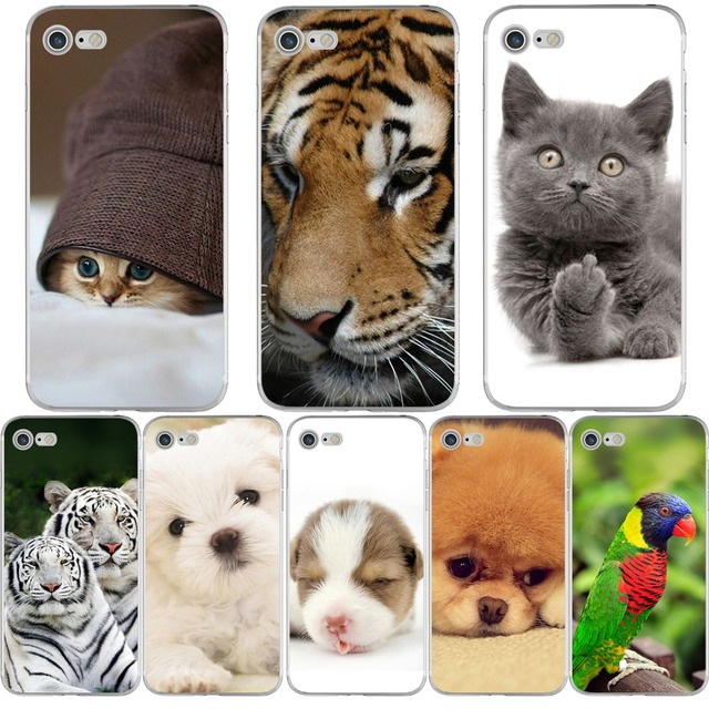 9893682a402 Funda de teléfono Animal divertido gato perro tigre para iphone 7 8 6 S 6  PLUS ...
