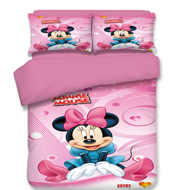 pink minnie mouse bedding set cartoon bedspread single twin full queen king size bedclothes childrens girls - Minnie Mouse Bed Set