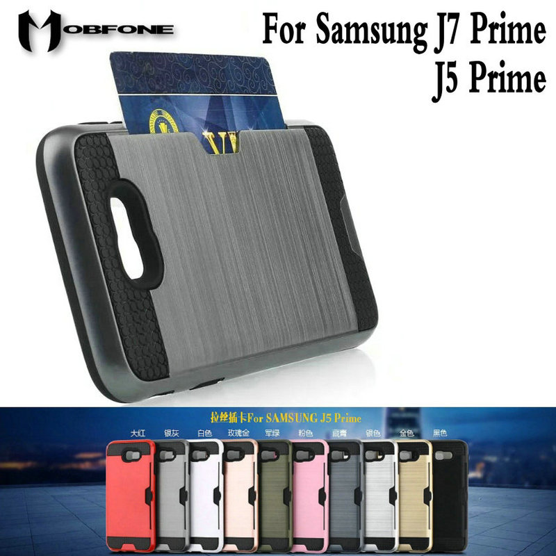 Mobfone Shockproof Cover For Samsung J7 Prime Card Slot PC Silicon 2 in 1 Armor Case For ...