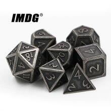 IMDG 7 шт./компл. Творческий RPG игра в кости многогранник металлические игральные кубики DND шрифт разных Никель Цвет цифровой игра в кости