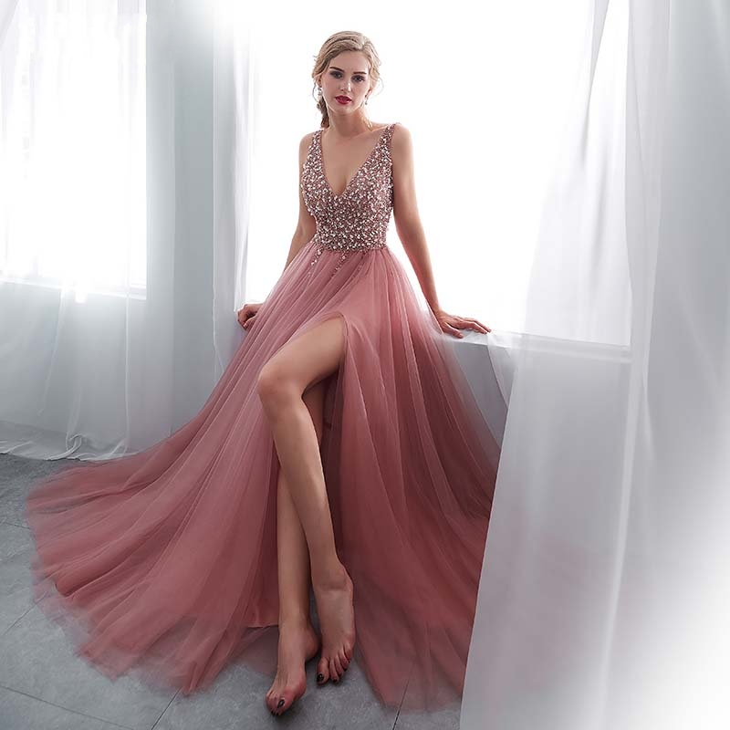 >Beading Evening Dress 2020 V-Neck Pink High Split Tulle <font><b>Sweep</b></font> <font><b>Train</b></font> <font><b>Sleeveless</b></font> Prom Gown A-line Lace Up Backless Vestido De