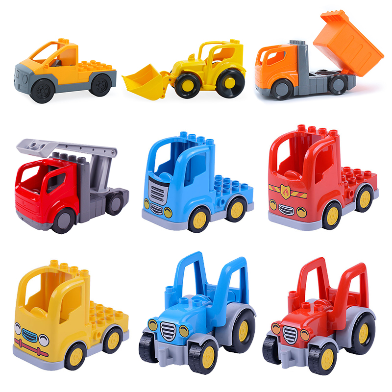 Classic Big Building Blocks City bulldozer engineering car accessory Toys for children Compatible with Duplo sets birthday Gift 8pcs lot spongebob kids toys building blocks sets children classic block toys gift compatible with legoeinglys 231