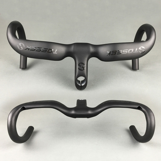 UD Matte TOSEEK Full Carbon Fiber Integrated Road Bicycle bike Handlebar with stem 400/420/440 x 80/90/100/110/120mm bike parts ink and solvent circulation pneumatic one way diaphragm pump bml 5