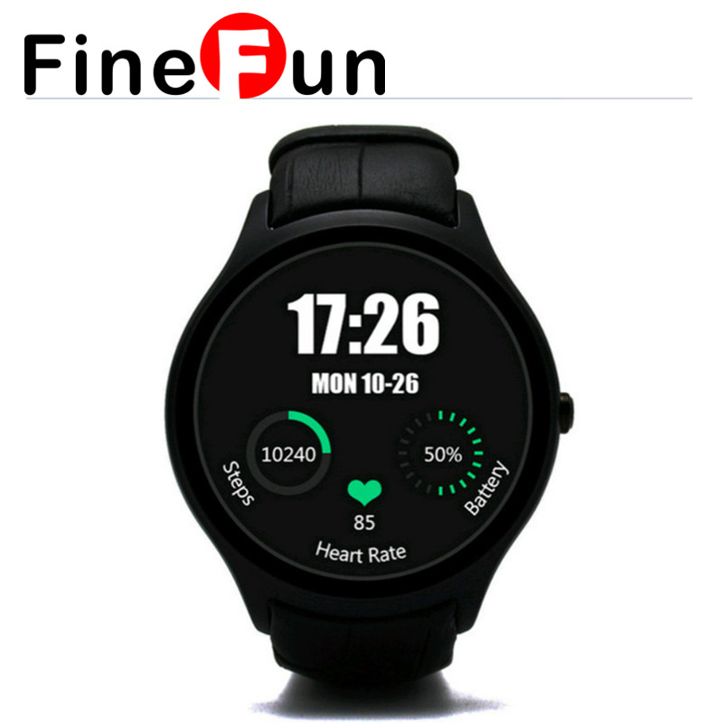 FineFun Crcular Shape D5 Android4 4 Bluetooth GPS Smart Watch with Heart Rate Monitor Google Play