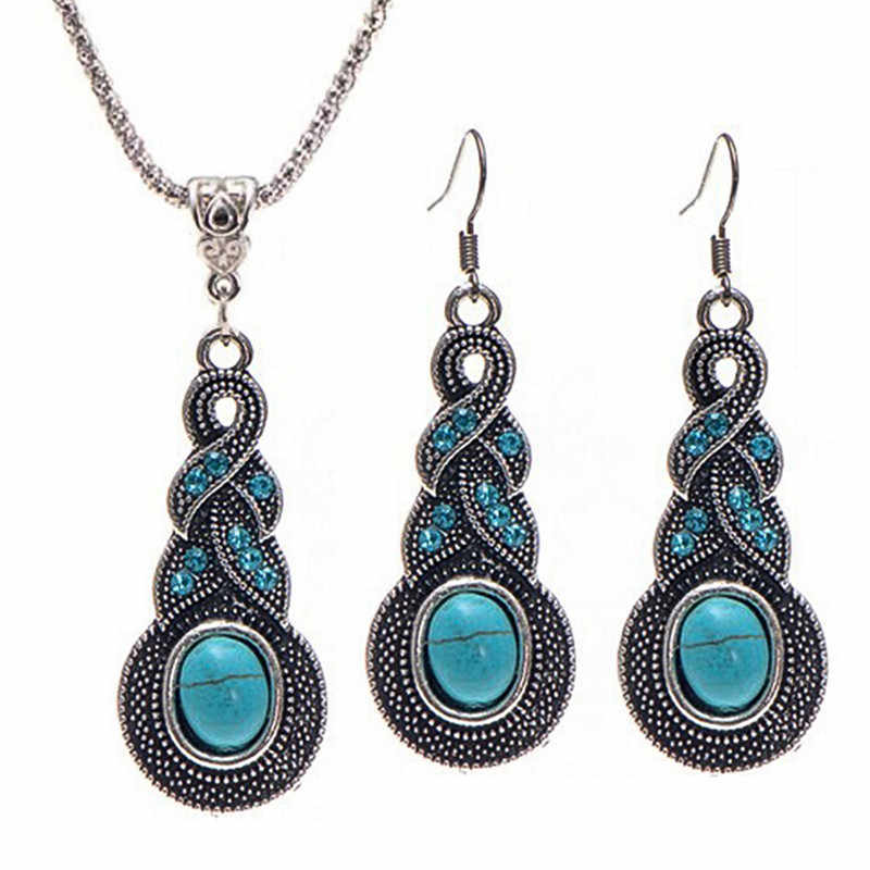 Selling European Chain Pendant Necklace Jewelry Set Vintage Pattern Blue Crystal Jewelry Necklace Earrings Gifts for girls JQ418