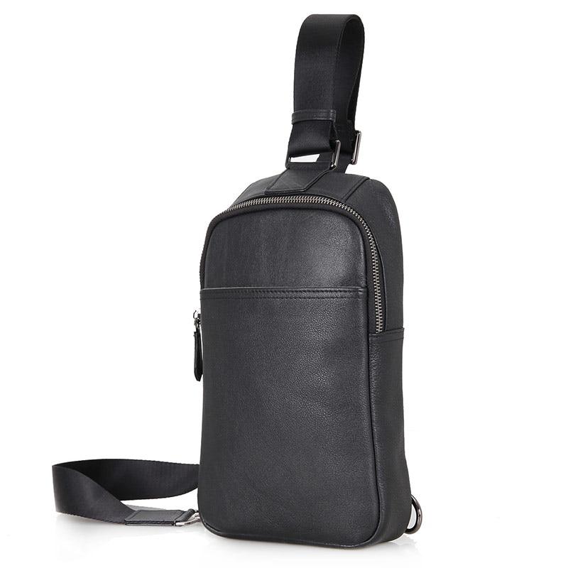 Augus Brand Genuine Leather Men's Cross Body Chest Bag Solid Black Shoulder Bag 4001A ручка для тяги на трицепс v образная серьга body solid mb507rg