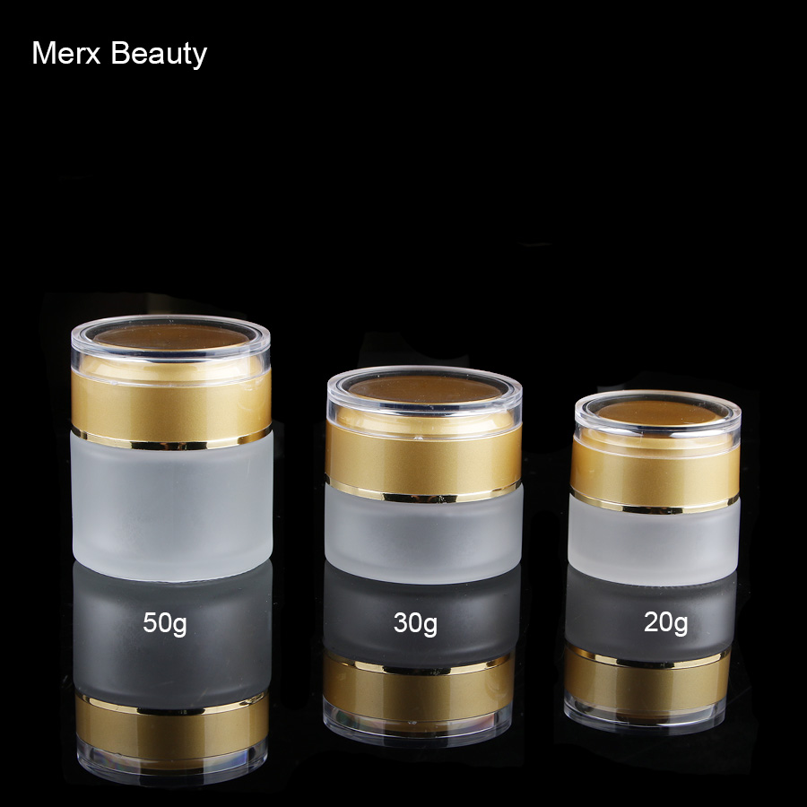 20g 30g 50g 1oz Frosted Clear Cosmetic Cream Glass Jar With Matte Gold  Clear Lid, 6pcs/lot, Merx Beauty Brand 200pcs x 200g big frosted abs plastic cosmetic packaging bath salt jar with wooden spoon
