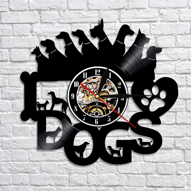 1piece dogs led lighting wall clock puppy vinyl record night light 1piece dogs led lighting wall clock puppy vinyl record night light time clock animal housewarming for aloadofball Images