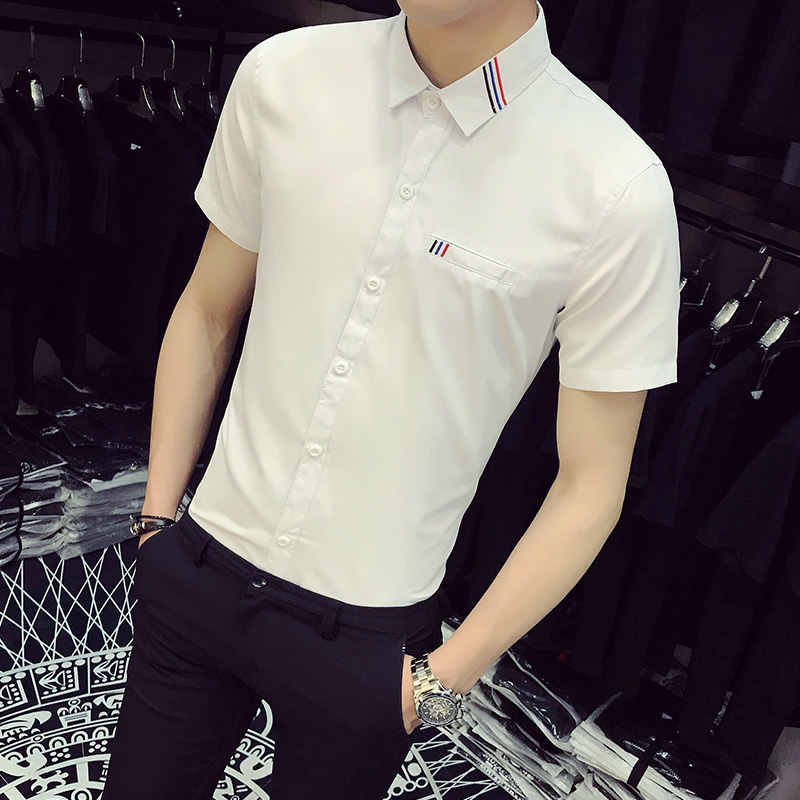 Korean Summer Shirt Men Slim Fit Stripe Embroidery Mens Social Shirts 2018 Simple New Solid Business Casual Work Shirt Plus Size