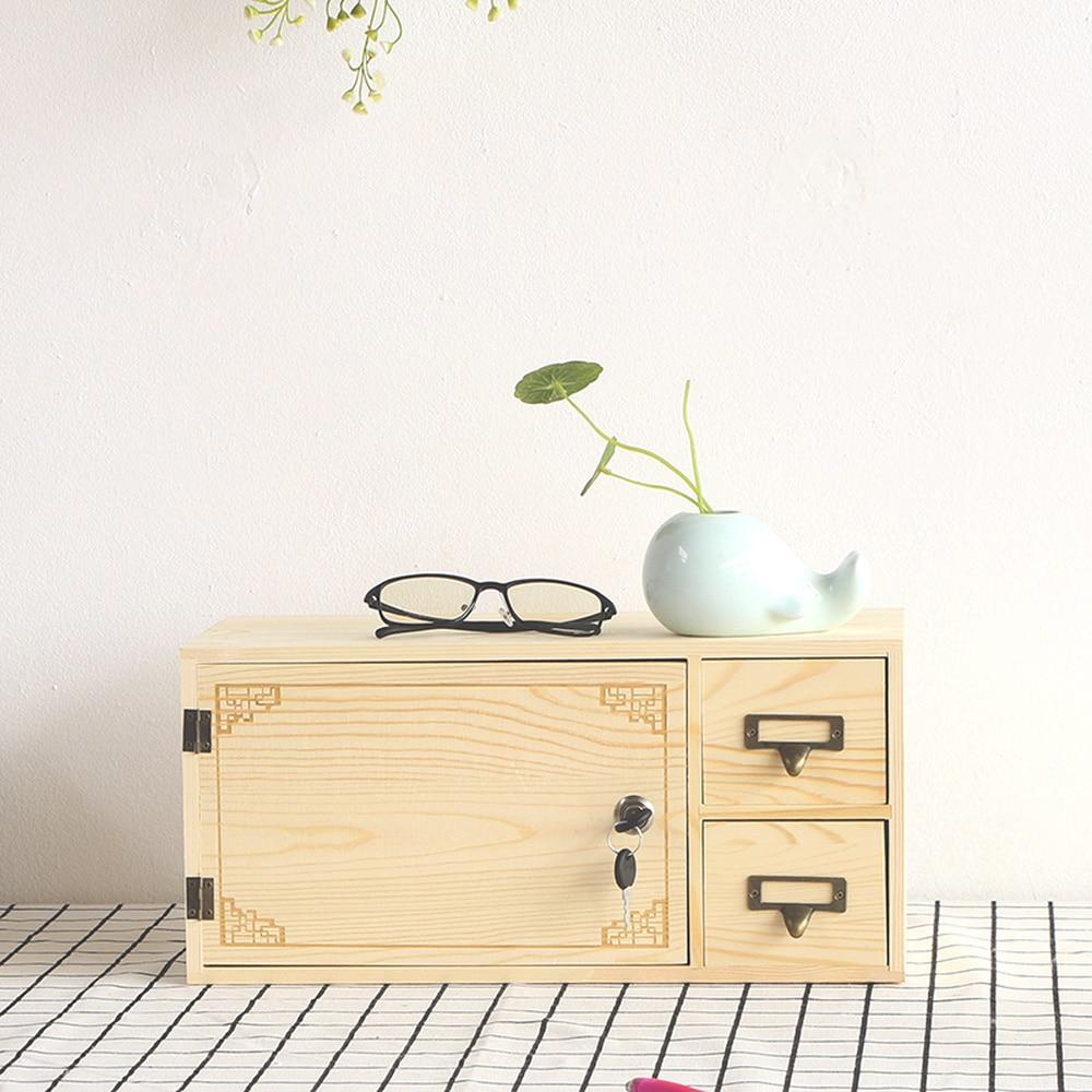 Creative lock bois boîte de rangement bureau bureau tiroir boîte de rangement armoire de rangement avec porte wx10251630