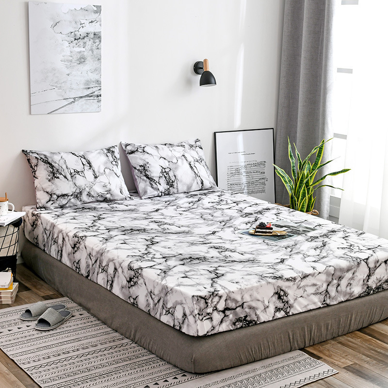 Pillowcase Cover Mattress-Protective-Case Fitted-Sheet Marble Bed Double-Queen-Size Single