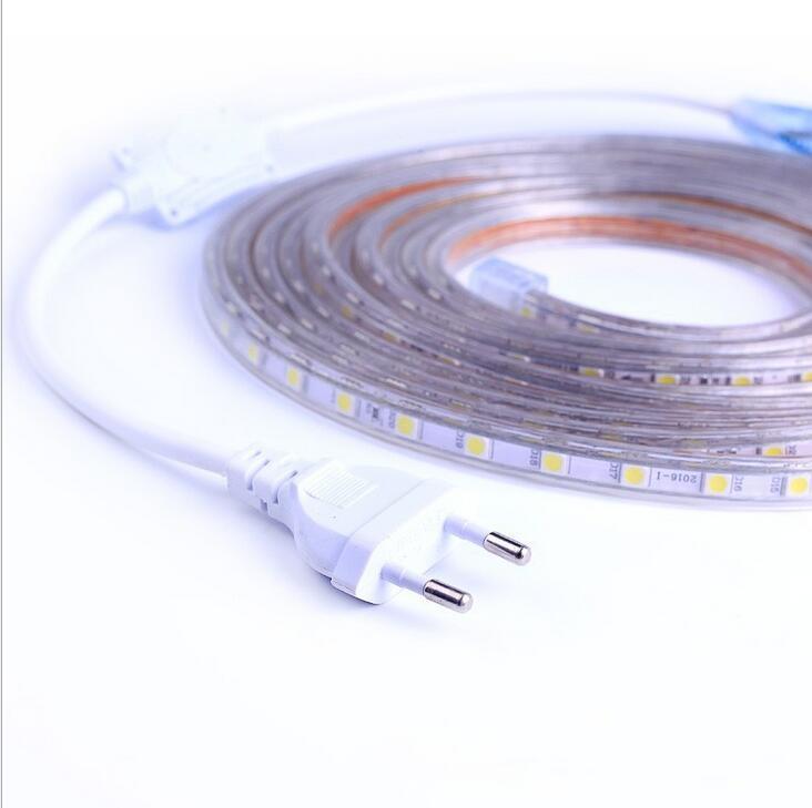 led strip light waterproof 220v SMD5050 60leds/m Led Tape LED Light With Power Plug 1M/2M/3M/5M/6M/8M/9M/10M/15M/20M Warm white