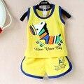 2017 verão Novo conjunto de roupas de bebê de algodão Bonito padrão Vest & calções conjuntos de roupas de bebê menino 0-2 anos bebê conjunto terno do bebê roupas