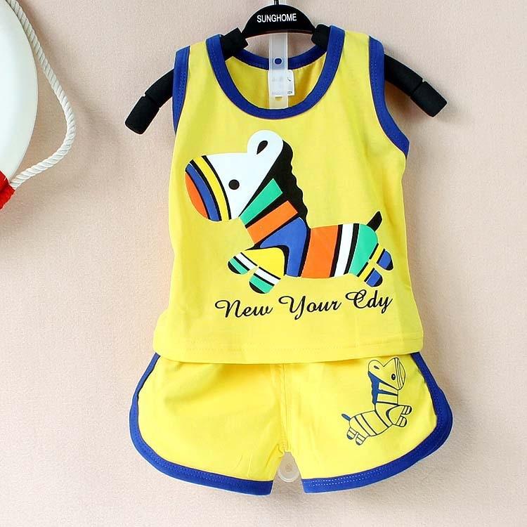 Новинка 2017 года лето комплект одежды для малыша хлопок милые картины жилет и Шорты Комплекты одежды для маленьких мальчиков От 0 до 2 лет комплект для малыша комплект одежда для малышей