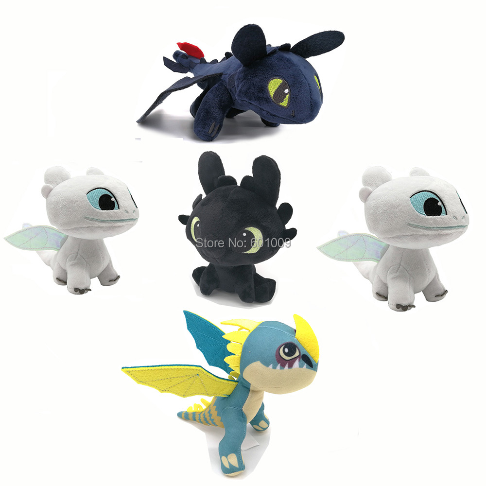 Free Shipping EMS 100/Lot 5 Styles Light Fury Night Fury Stormfly Toothless's 13 23CM Girlfriend White Dragon Plush Doll Toy-in Cine y TV from Juguetes y pasatiempos    1