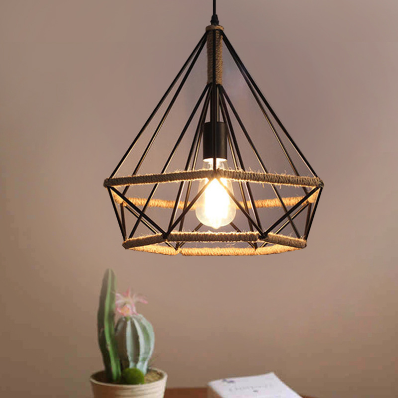 Retro Vintage Retro Pendant Light Lamp Hand Knitting Rope Iron Diamond Lamp E27 Edison Bulb For Loft Restaurant Home Decor retro vintage rope pendant light lamp