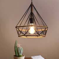 Retro Vintage Retro Pendant Light Lamp Hand Knitting Rope Iron Diamond Lamp E27 Edison Bulb For Loft Restaurant Home Decor
