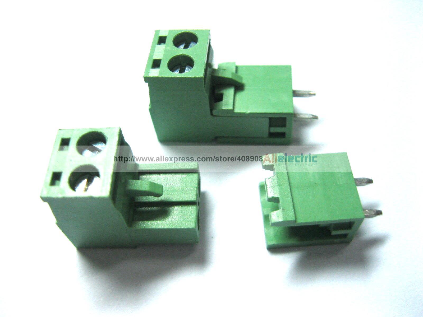 100 Pcs Green 2pin 5.08mm Screw Terminal Block Connector 3 pin curved screw terminal block connectors green 20 piece pack