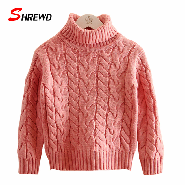 Kids Girl Sweater 2017 New Winter Casual Pure Color Twist Knit Sweater Child Long Sleeve Thick Baby Girl Clothes 4397W