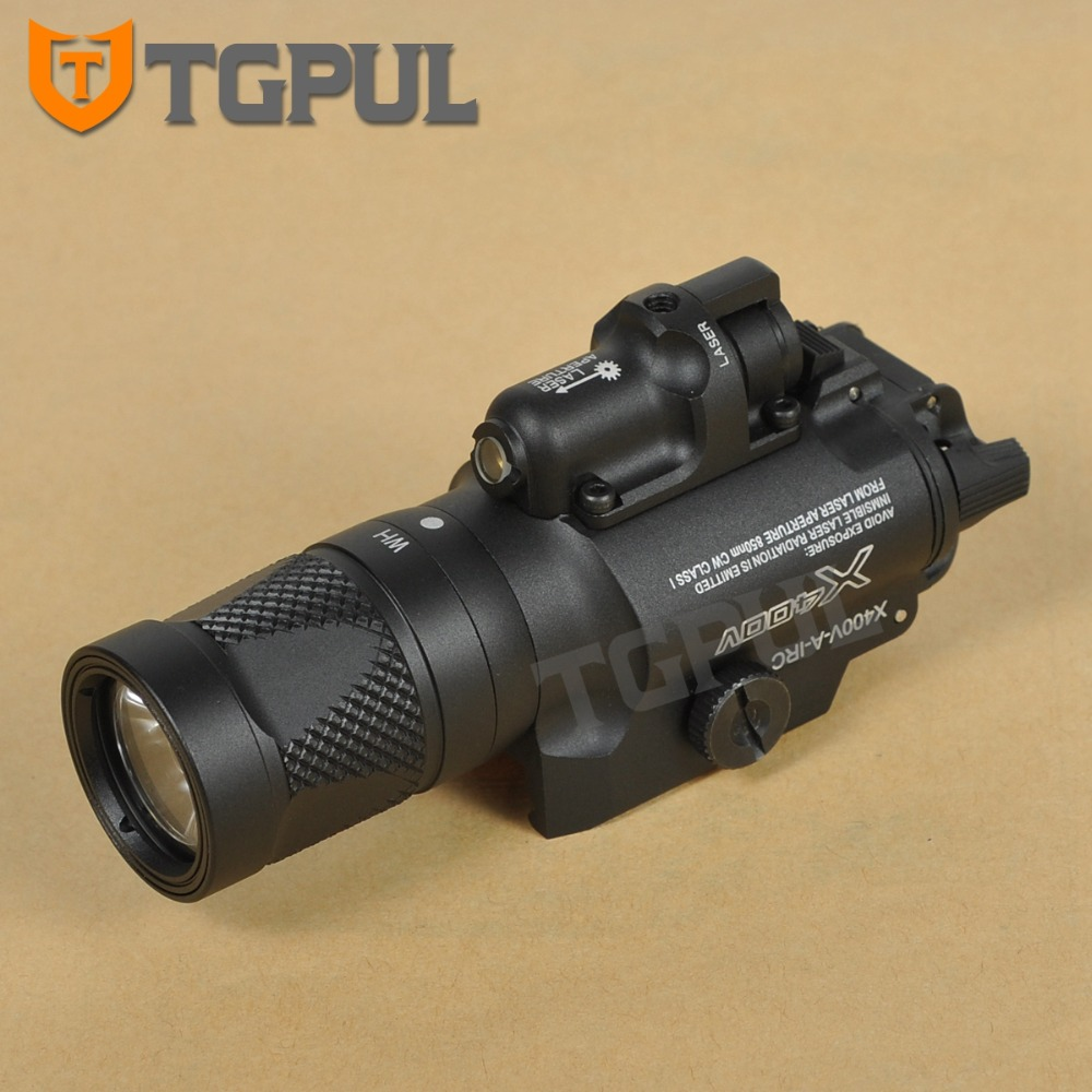 TGPUL Tactical X400V Pistol Flashlight Red Laser Constant / Momentary/ Strobe Weapon Light LED Handgun Airsoft Hunting Shooting