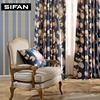 Europe Style Blue Printing Curtains For Living Room Bedroom Luxury Curtains Window Drapes Velvet Voile Curtains