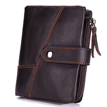 2017 New Vintage Genuine Leather males pockets Short part Casual Clutch coin purse Designer Car suture black Brown wallets
