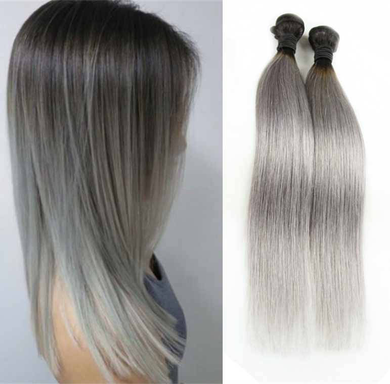 3pcs Lot 300g Ombre Silver Gray Human Hair Weave Ombre