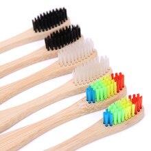 Cepillo de dientes de bambú con cabeza de colores, cepillo para cuidado dental de madera, Arco Iris, cerdas suaves, 1 unidad