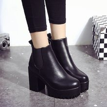 Women's boots 2019 new summer fashion ins round head thick with short boots solid color zipper women's booties(China)