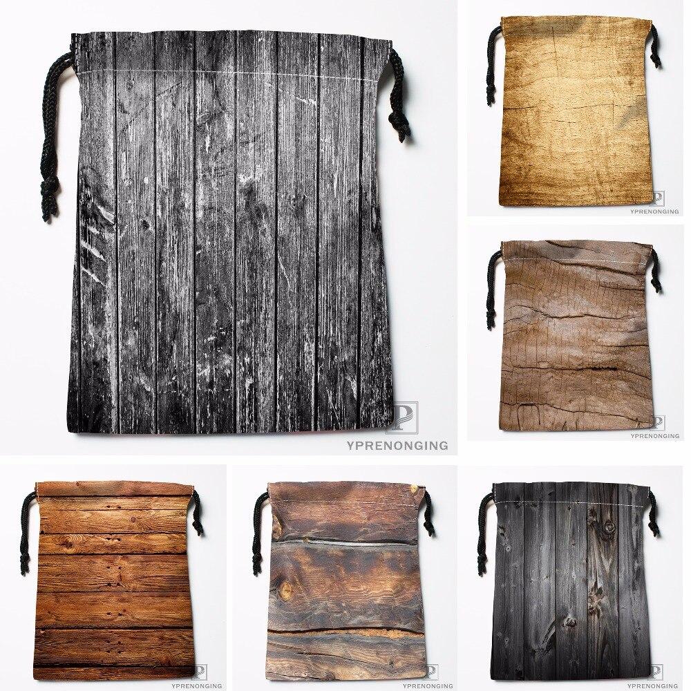 Custom White Wood Texture Drawstring Bags Travel Storage Mini Pouch Swim Hiking Toy Bag Size 18x22cm