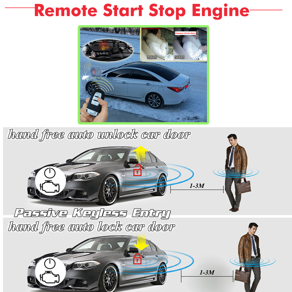 BANVIE Universal PKE Car Security Alarm System with Remote Engine Starter Start Stop Push Button Passive keyless go starline in Burglar Alarm from Automobiles Motorcycles