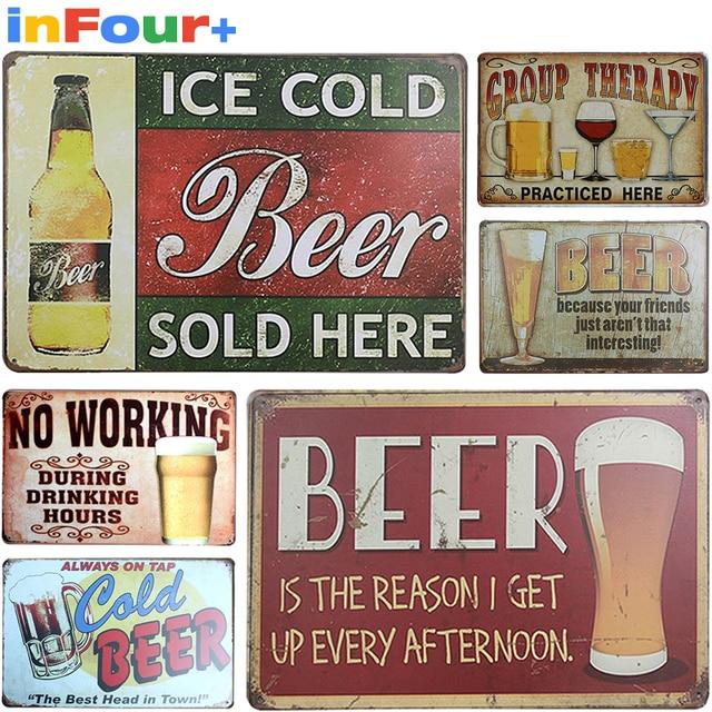 Beer Metal Poster Slogan Vintage Signs Home Decor Tin Pub