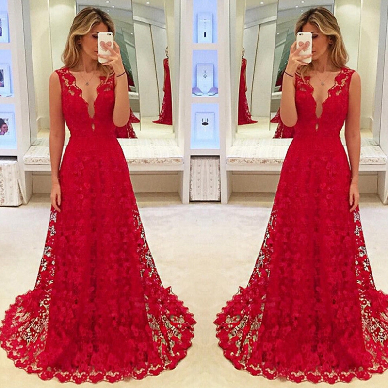 Hirigin Elegant Women Deep V-neck Floral Lace Hollow Out Long Maxi Dress Evening Formal Party Prom Ball Gown Red Vestido