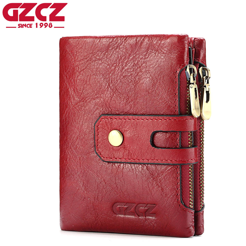 GZCZ Women Wallet Female Genuine Leather Women Walet Coin Purse Small Vallet Card Holder With Zipper