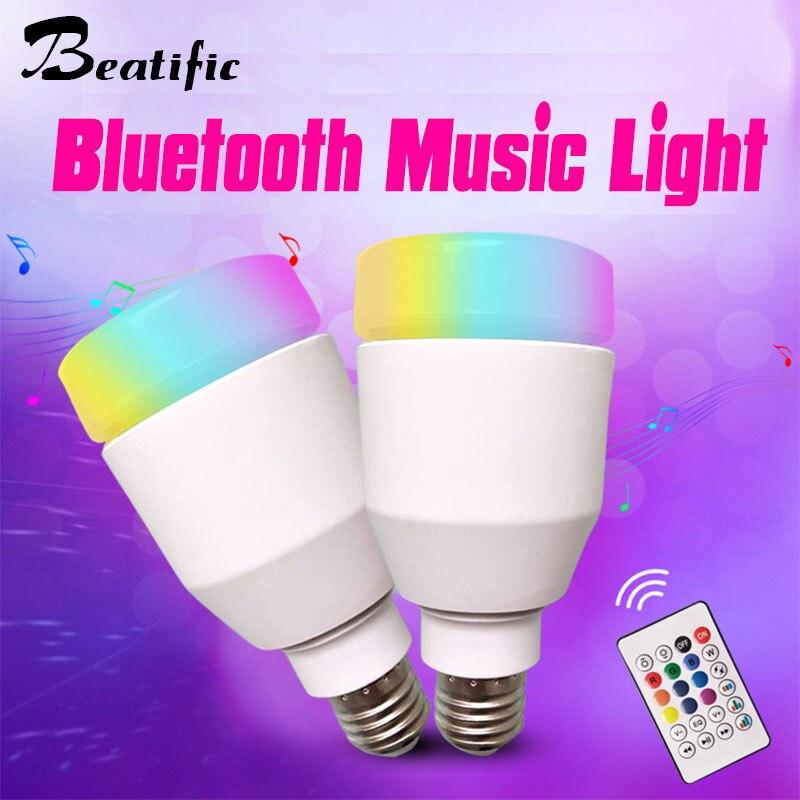 12W E27 RGB LED Lamp with Sound Box Bluetooth Speaker lampada com caixa de som Music Bulb Lamp Color Changing Light цена