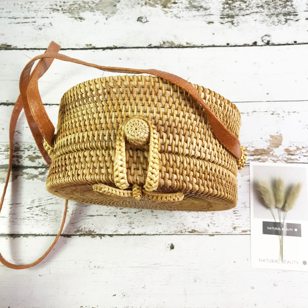 Bali Island Hand Woven Bag Round Bag buckle Rattan  Straw Bags Satchel Wind Bohemia Beach Circle Bag 8