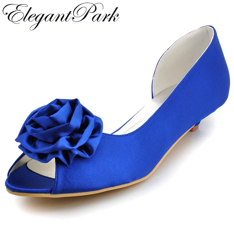 Woman shoes Low Heel Peep Toe Flower Comfortable Satin Lady Girls Bride Prom Party Wedding Bridal Shoes Blue White Ivory  WM-007 woman high heel wedding sandals silver peep toe bridesmaid bride bridal shoes satin lady prom party evening pumps white ivory