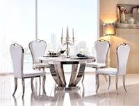 Столовая из нержавеющей стали набор домашней мебели минималистичный современный стеклянный обеденный стол и 4 стула mesa de jantar muebles comedor