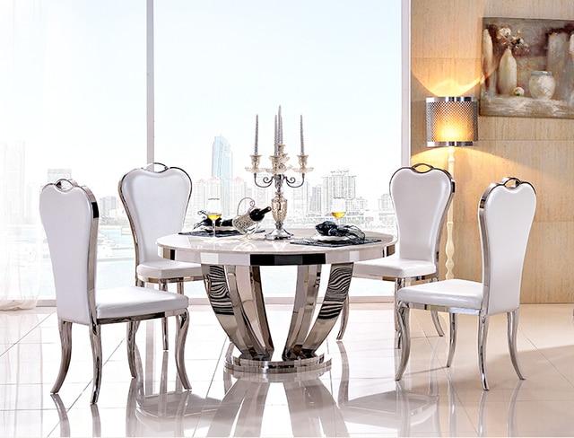 acier inoxydable salle a manger ensemble de meubles de maison minimaliste moderne table a manger en