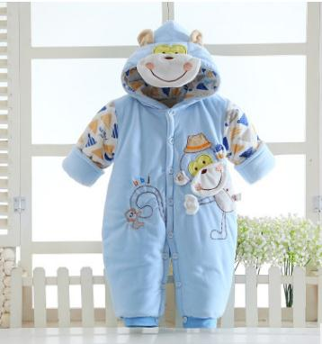 Winter Baby Clothes Baby Boy Clothes Cartoon Monkey Jumpsuit Baby Girl Rompers Thick Warm Newborn Infant Clothing Outfits XC7612