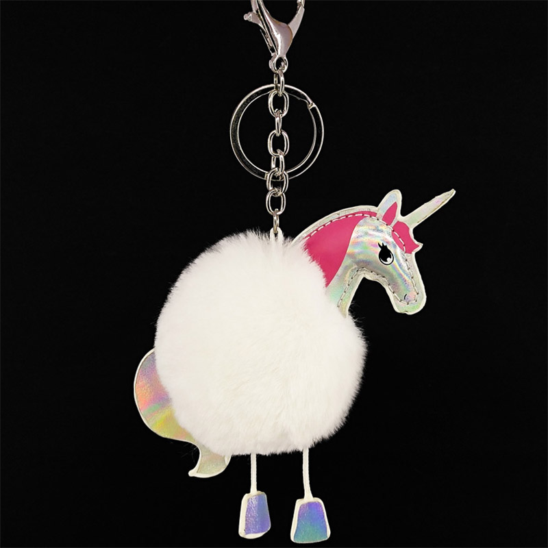 Lovely Puff Ball KeyChains Cute Horse KeyChains Kids Womens Personalised Rings Android KeyChains Car Bag Santa Claus Key Chain