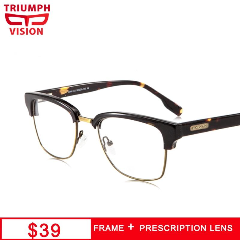 TRIUMPH VISION Semi-rimless Mens Prescription Glasses Fashion Vintage Half Frame Spectacles Eye Glasses Astigmatic Anti Blue Ray