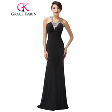 Grace Karin Evening Dresses Sexy Backless Black Sequins Long Women Slim Bodycon Formal Celebrity Special Occasion Dress 2017
