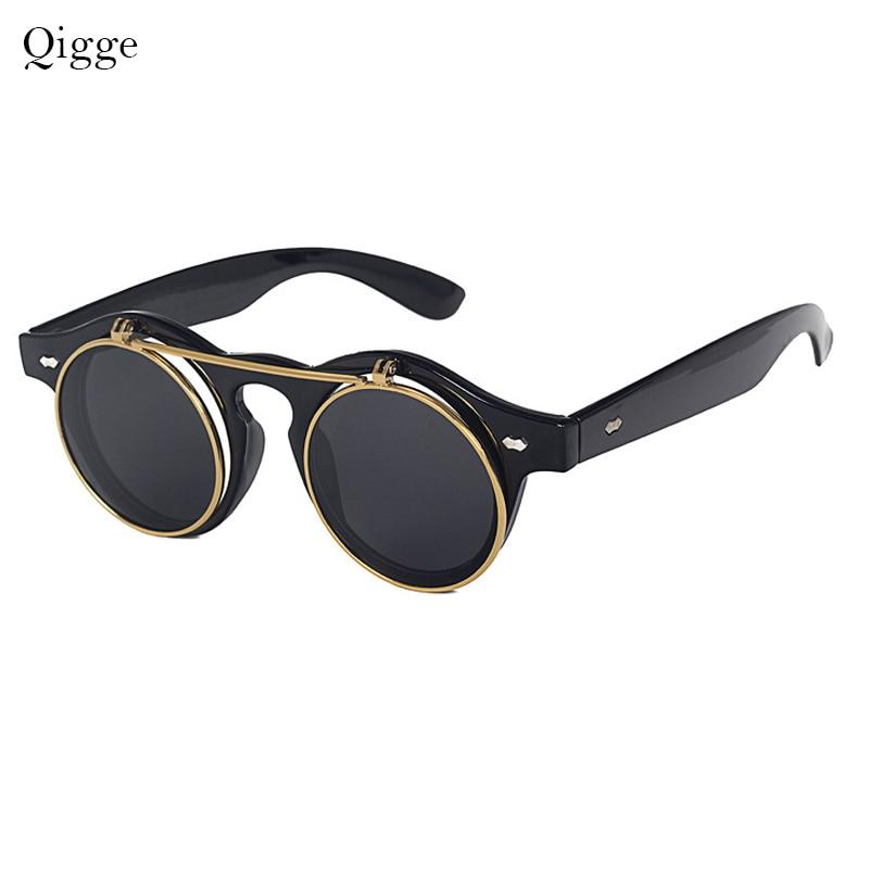 Qigge Moda Vintage Dəyirmi Retro Buxarlı Pəncək Eynəklər - Geyim aksesuarları - Fotoqrafiya 1