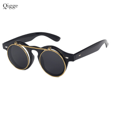 Qigge Fashion Vintage Round Retro SteamPunk Solglasögon Classic Double Layer Clamshell Design Solglasögon UV400 Oculos De Sol