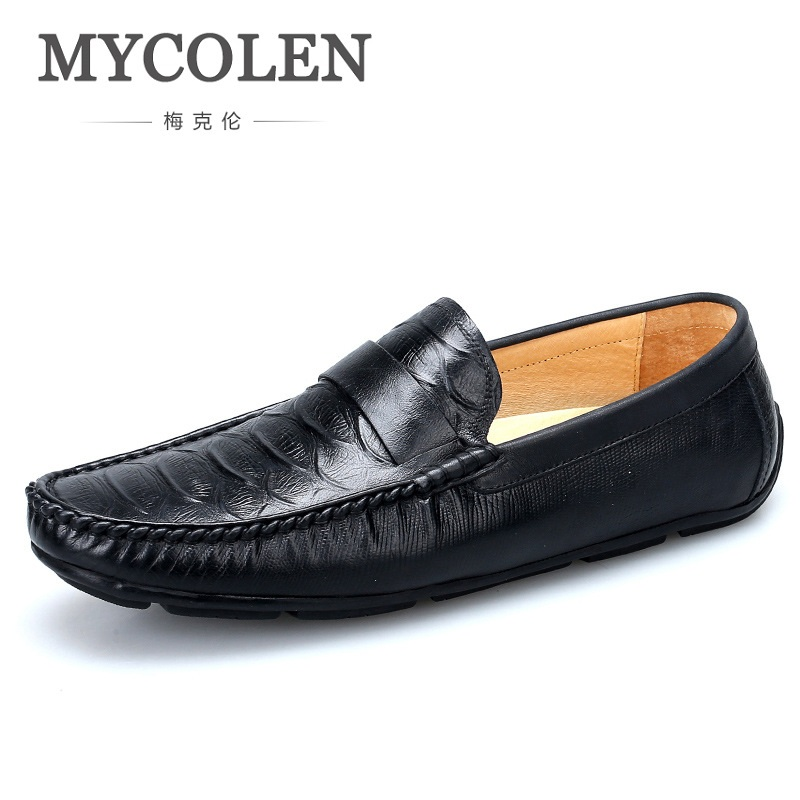 MYCOLEN Spring Breathable Crocodile Skin Leather Shoes For Men Split Leather Slip On Fashion Male Shoes Man Soft Comfortable ifrich spring summer men leather fashion shoes black white male flat split leather shoes comfortable man casual footwear