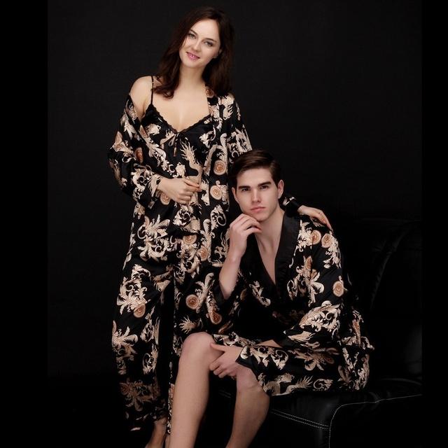 Albornoz masculina sexy hombres traje del dragón de seda nueva llegada los hombres de satén vestido de primavera moda masculina sexy pijamas de la marca de lujo AA306