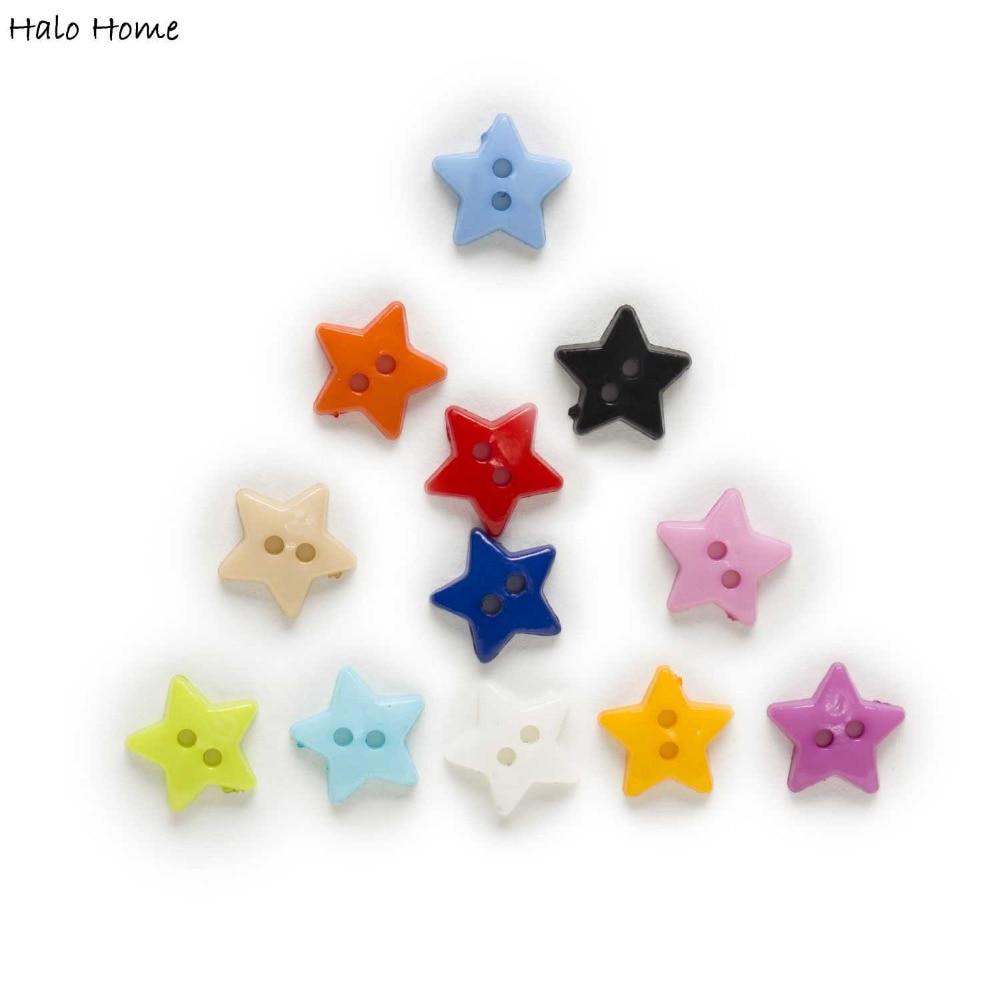 100 adet 2 Delik Yıldız Akrilik Düğmeler Dekor Giyim Ev Dikiş Scrapbooking Kart Yapımı DIY 12mm