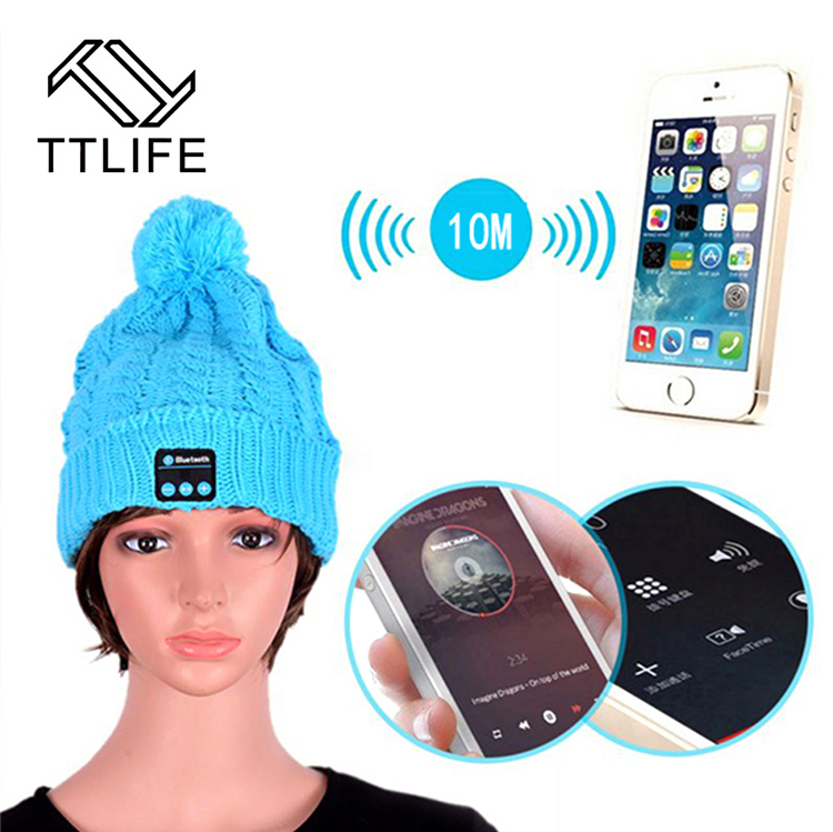TTLIFE Bluetooth Headset Earphone Hat for iPhone 7 Samsung Phones Women Winter Outdoor Sport Bluetooth Stereo Music Wireless Hat ttlife bluetooth earphone